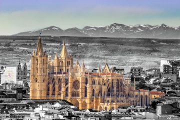 Vista aérea de la Catedral de León, España